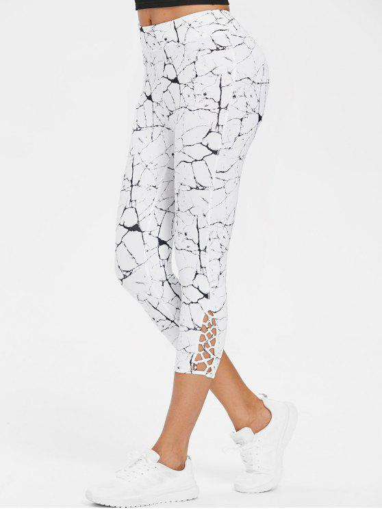 best Calf Cross Marble Print Capri Leggings - WHITE L