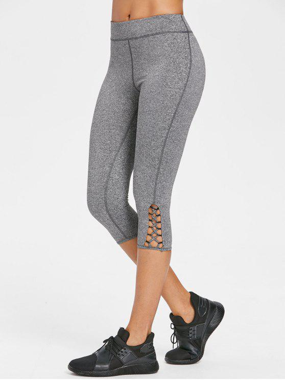 shop Cross Heathered Capri Leggings - DARK GRAY L