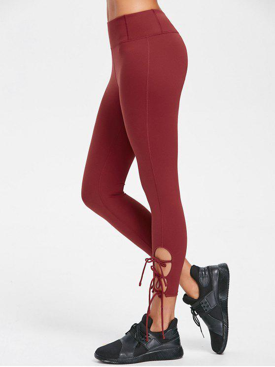 Costuras Lisas Side Tie Apertado Yoga Leggings - Castanha Vermelha L