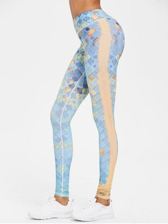 hot Printed Compression Gym High Waisted Leggings - MULTI S