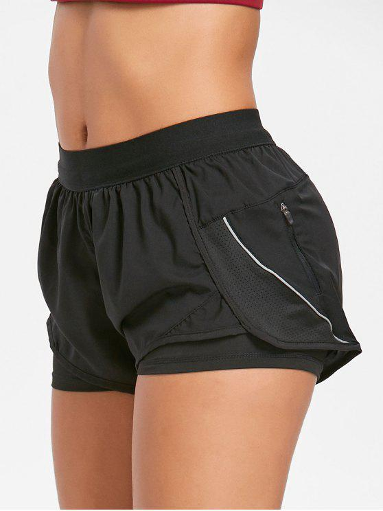 lady Layered Running Shorts - BLACK S