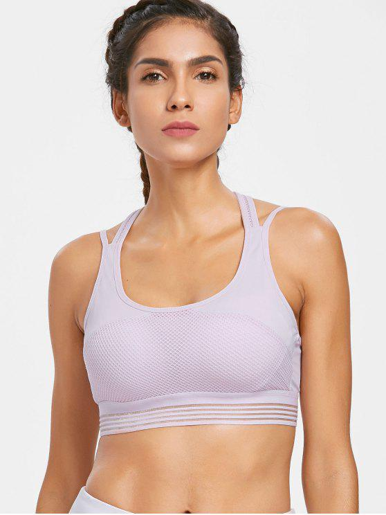 ladies Shadow Striped Mesh Overlay Sports Bra - MAUVE L