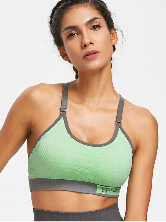 hot Checked Textured Knit Graphic Sports Bra - GREEN THUMB L