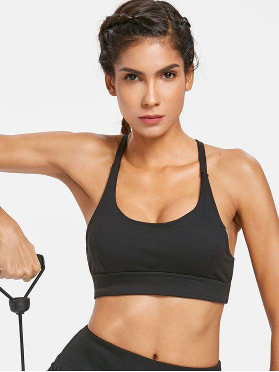 women Mesh Inset Mid Impact Sports Bra - BLACK M