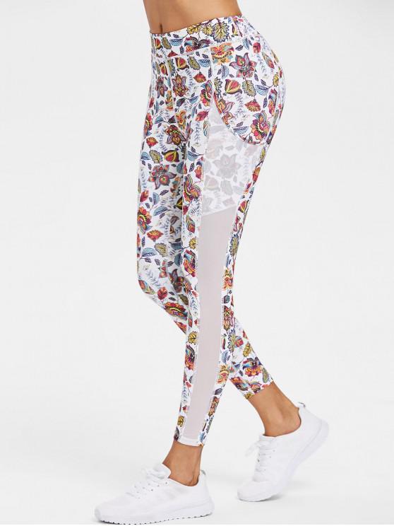 women Sports Floral Mesh Panel Leggings - WHITE M