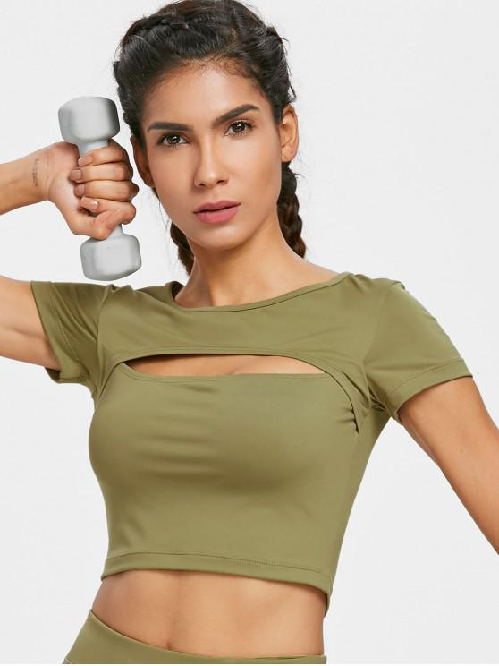 lady Cut Out Sporty Tee - ARMY GREEN L