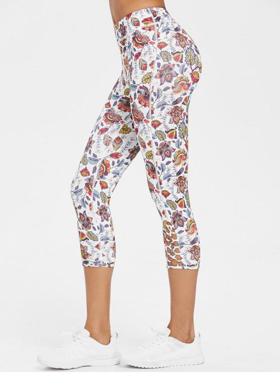 fashion Exotic Printed Criss-cross Capri Leggings - MULTI L