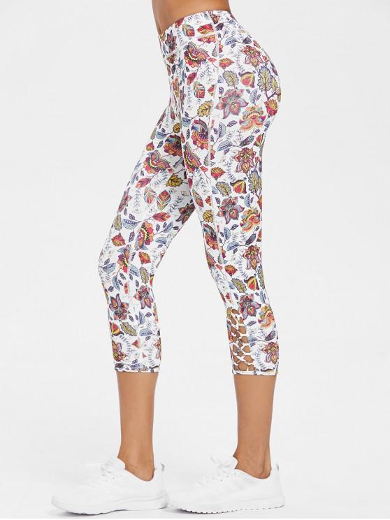 chic Exotic Printed Criss-cross Capri Leggings - MULTI M