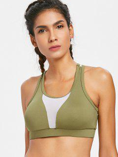 Racerback Mesh Panel Bra - Army Green L