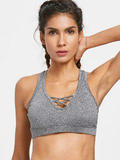 Heather Criss Cross Sports Bra - Gray S
