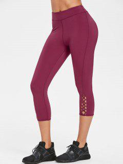Calf Criss-cross Capri Leggings - Plum Velvet M