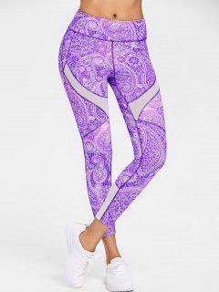 Paisley Mesh Insert Active Leggings - Violet L