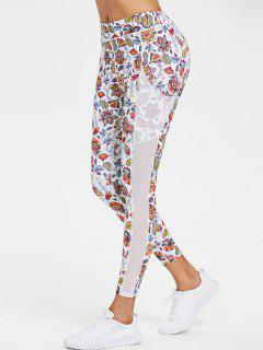 Sports Floral Mesh Panel Leggings - White L