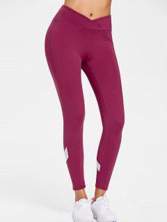 Mesh Insert Sports Active Leggings - Red Wine M