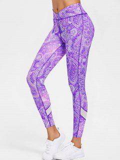 Paisley Print Sports High Waisted Leggings - Purple Daffodil L