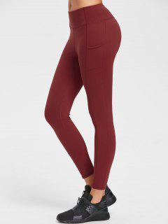 One Pocket Flat Seams Yoga Leggings - Chestnut Red M