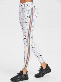 Marbling Stripe Trim Active Leggings - White L