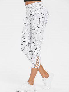 Calf Cross Marble Print Capri Leggings - White M
