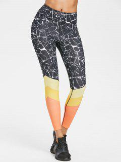 Color Block Marbling Active Leggings - Black L
