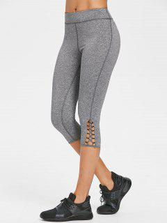 Cross Heathered Capri Leggings - Dark Gray M