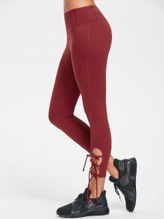 Flat Seams Side Tie Tight Yoga Leggings - Chestnut Red M
