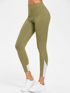 Mesh Panel High Waisted Sports Leggings - Avocado Green S