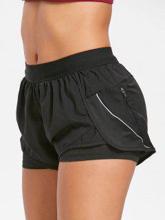 Layered Running Shorts - Black M