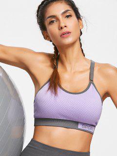 Checked Textured Knit Graphic Sports Bra - Purple L