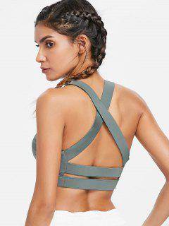 Padded High Impact Sports Bra - Beetle Green L