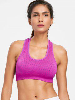 Geometric Knit Removable Pad Sports Bra - Dimorphotheca Magenta M