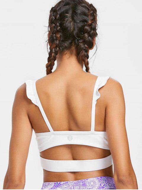 outfit Ruffle Mid Impact Sports Bra - WHITE L Mobile