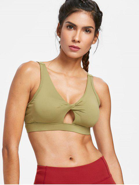 fancy Twisted Cutout Mid Impact Sports Bra - MOCCASIN S Mobile