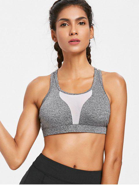 best Heather Mesh Panel Sporty Bra - GRAY L Mobile