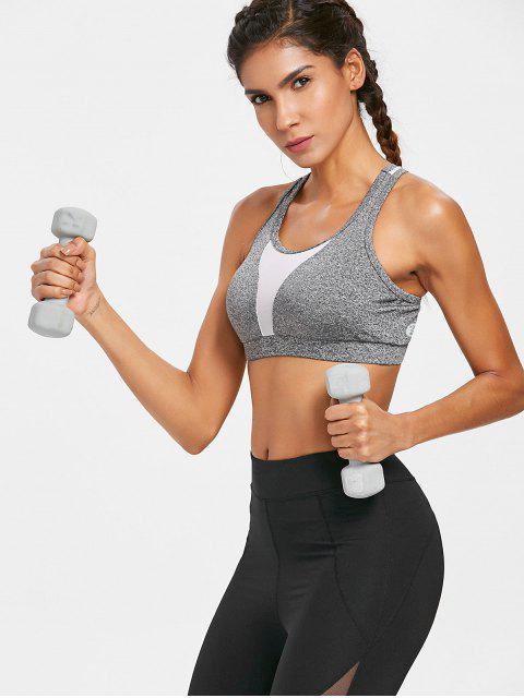 new Heather Mesh Panel Sporty Bra - GRAY S Mobile