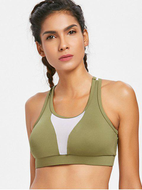 shops Racerback Mesh Panel Bra - ARMY GREEN M Mobile