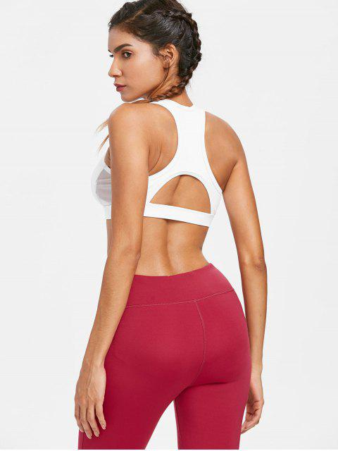 sale Mesh Insert Racerback Sports Bra - WHITE S Mobile