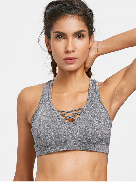 hot Heather Criss Cross Sports Bra - GRAY M Mobile