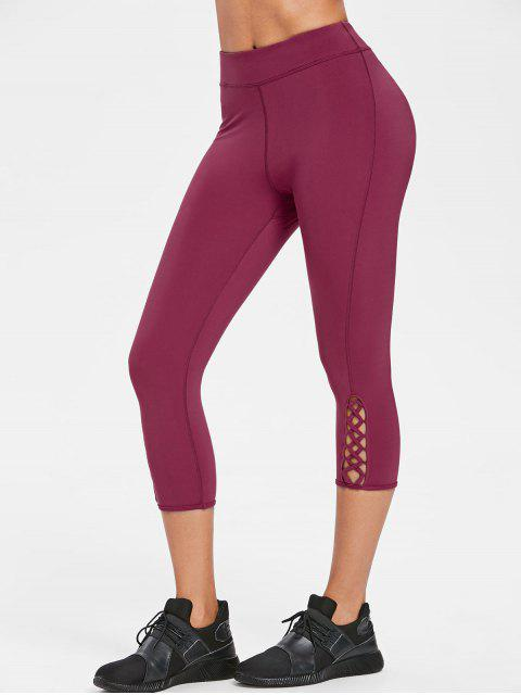 chic Calf Criss-cross Capri Leggings - PLUM VELVET L Mobile