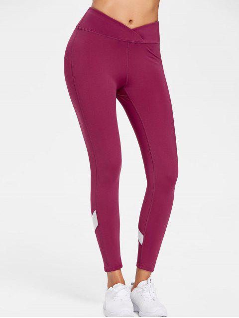 ladies Mesh Insert Sports Active Leggings - RED WINE L Mobile