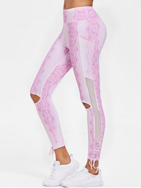 Patrón de serpiente Lace Up Sports Leggings - Azúcar de Algodón  L Mobile