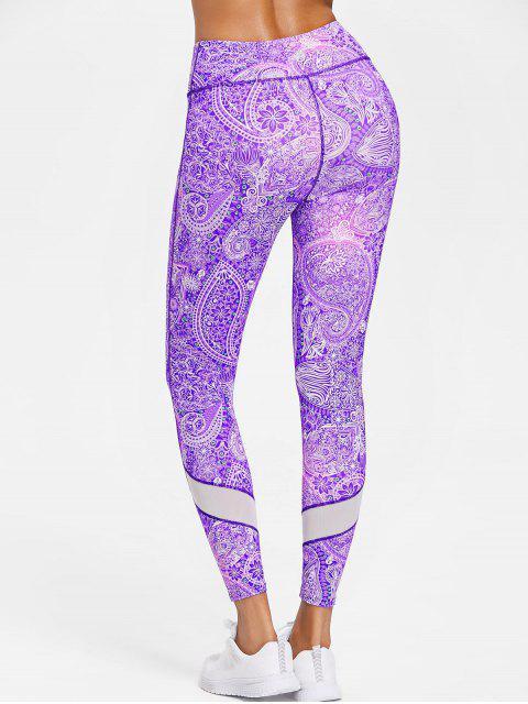 Paisley Print Sports Leggings de cintura alta - Narciso Morado M Mobile