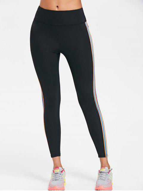 trendy Striped Side High Waisted Active Leggings - BLACK S Mobile
