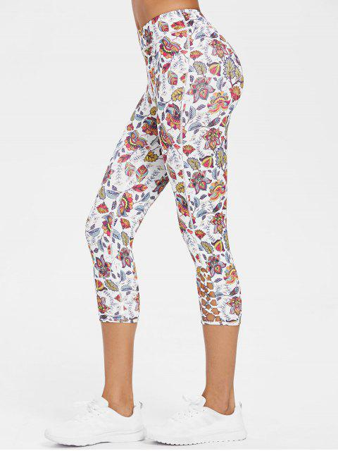 chic Exotic Printed Criss-cross Capri Leggings - MULTI M Mobile