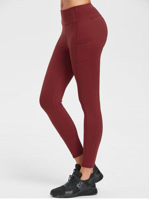 buy One Pocket Flat Seams Yoga Leggings - CHESTNUT RED L Mobile
