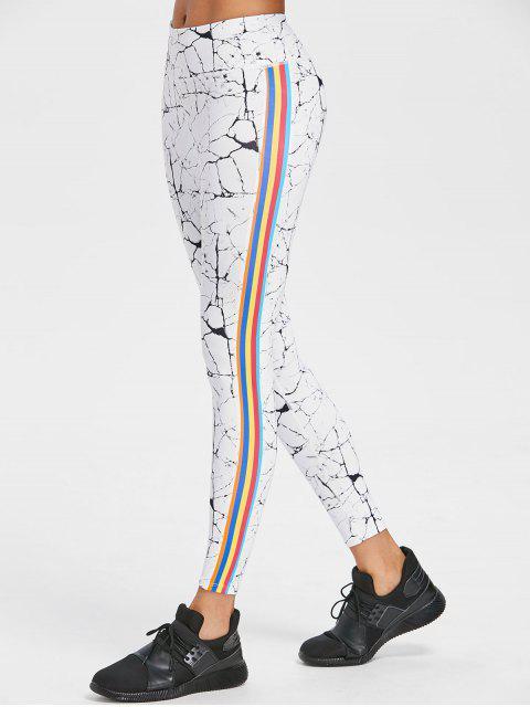 lady Marbling Stripe Trim Active Leggings - WHITE S Mobile
