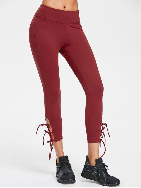 Costuras planas Lazos laterales Yoga ajustados - Castaño Rojo S Mobile