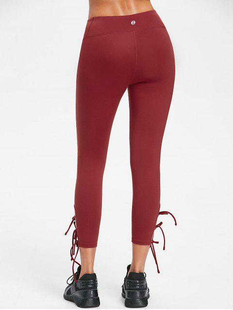 womens Flat Seams Side Tie Tight Yoga Leggings - CHESTNUT RED S Mobile