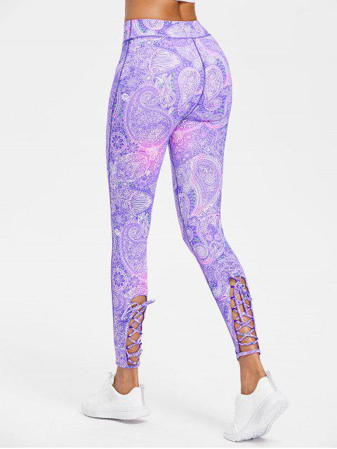 fashion Ankle Lace-up High Waisted Leggings - PURPLE S Mobile