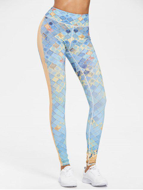 new Printed Compression Gym High Waisted Leggings - MULTI M Mobile