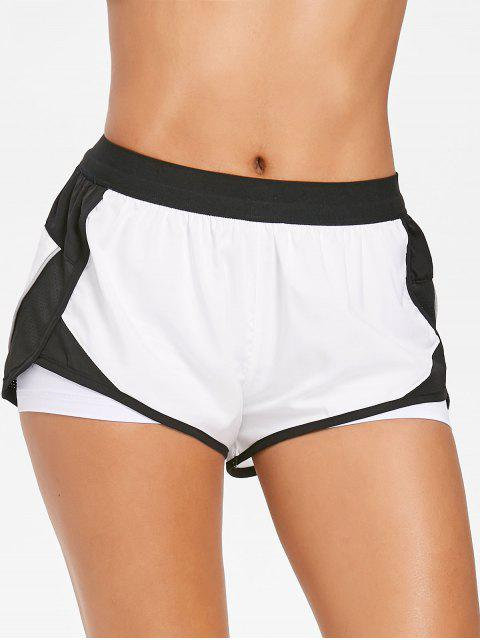 womens Layered Running Shorts - WHITE M Mobile